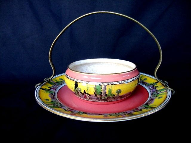 Great Old English Earthenware Dish and Tray  ~ Garden Courting Scene ~ Royal Winton ~ Grimwades ~ Stoke on Trent England 1930 +