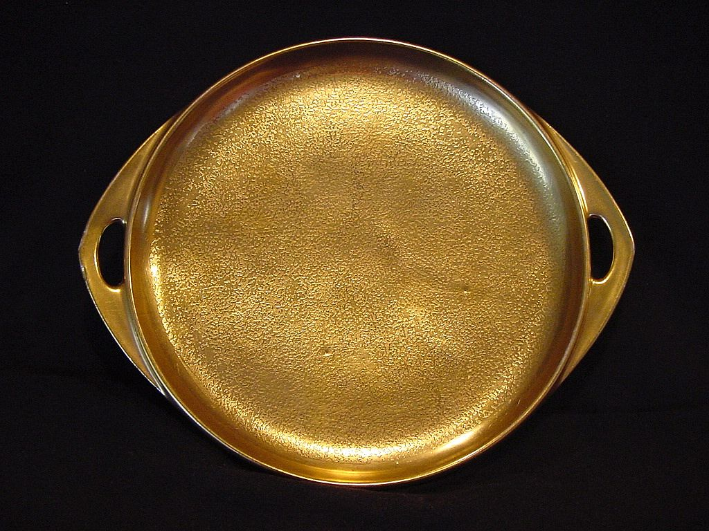 """Awesome Pickard Studio Decorated Two Handled Tray 8 3/8"""" ~ ALL OVER GOLD!!!"""