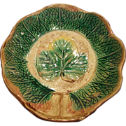 SALE WONDERFUL Majolica Dish Brown & Green Leaf  Design ~ Unattributed