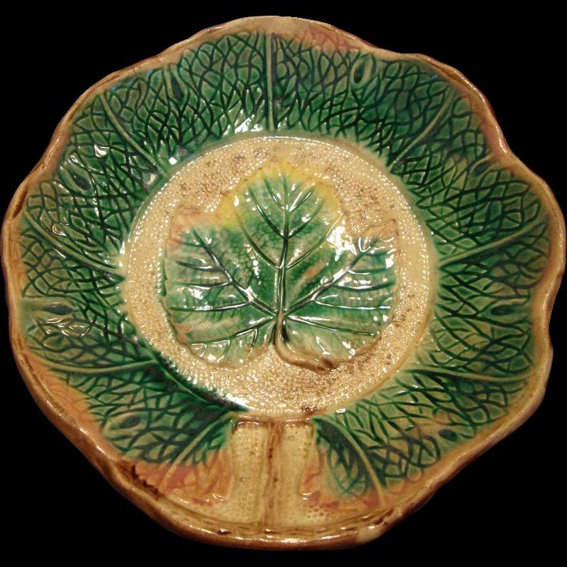 WONDERFUL Majolica Dish Brown & Green Leaf  Design ~ Unattributed