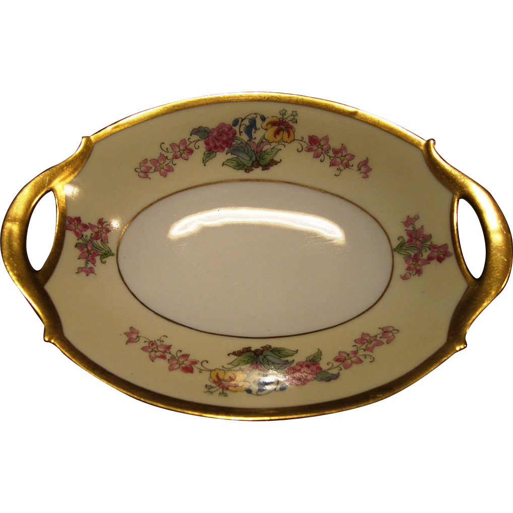 Delightful Bavarian Two Handled Dish Hand Painted with Flowers by Pickard Studio ~ Moschendorf Bavaria / Pickard Studio 1930-1938