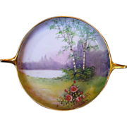 Exquisite Porcelain Tray ~ Decorated by Pickard Studios with Vellum Landscape Scene ~ Artist F. James ~ Pickard Studios Chicago IL 1912-1918