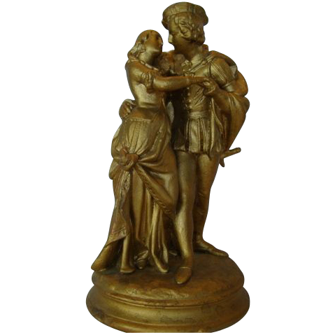 Beautiful Florentine Statue / Figurine of Romeo & Juliet No. 933 ~ by Casper Hennecke Milwaukee 1865- 1887