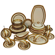 SALE Elegant and Impressive Gold Encrusted / Embossed Bavarian 35 Piece Porcelain Dinner Set .