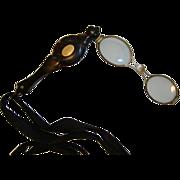 SALE Lorgnette with Tortoise shell Design 14K Cartouche, Flipout, Folding Magnifying Glasses ~