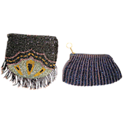 SALE Two (2) Very Nice Beaded Purses with iridescent beads ~ Mid 1920's