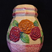 Gorgeous Majolica Sugar Shaker Decorated with Red & Caramel Roses