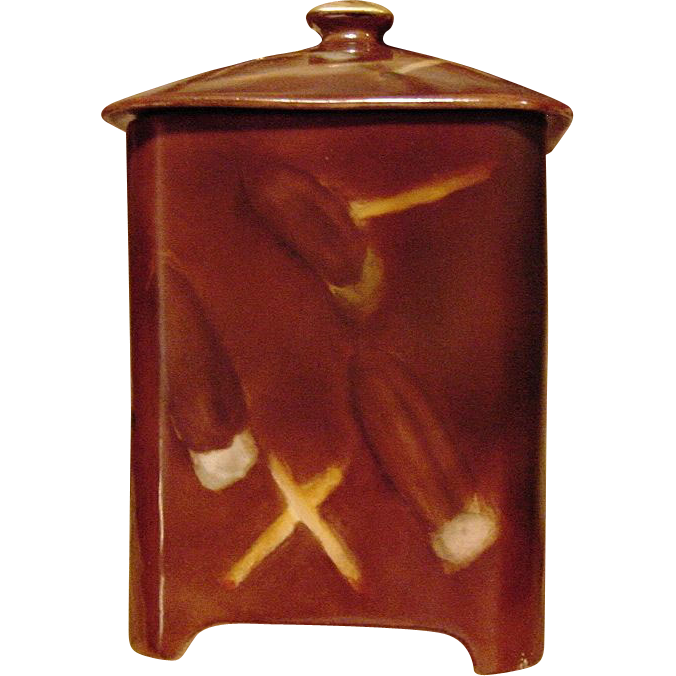 Handsome Limoges Porcelain Humidor ~ Hand Painted with Cigars ~ Bernardaud & Co 1900-1913