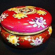 SALE Nice Old Nippon Dresser Box / Jar ~ Hand Painted Cranberry and Cream with Flowers and Mor