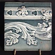 SALE Nice Majolica Boarder Tile with Leaf & Scroll Design ~ Trent Tile Co 1892 +
