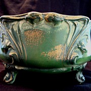 SALE Fantastic Faience Ferner~ Green with Gold Sponge Accents ~ DF Haynes ~ Chesapeake Pottery