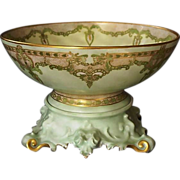 "Exquisite 12 1/2'' Limoges Punch Bowl w/ Ornate base – ""One of a Kind"" Art Nouveau Desig"
