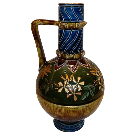 Beautiful High Quality French Majolica Jug / Pitcher ~ Flowers, Basketweave and Gold Embossed - Attributed to Sarreguemines 1920's-1930's.
