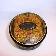 Awesome Italian Leather Round Lidded Box ~ Silk Lined ~ Embossed Decorated ~ Made In Italy ~ early 1900's