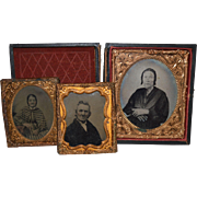 SALE 3 – Tintypes ~Woman in Embossed wooden Box &  2 – 1/6 size of Man & Woman - 1840's