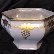 SALE Royal Austria Porcelain – White Dish / Bowl / Vase with Gold Grape Art Nouveau Design .