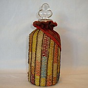 Fantastic Velvet and Crochet Covered Glass Perfume Bottle