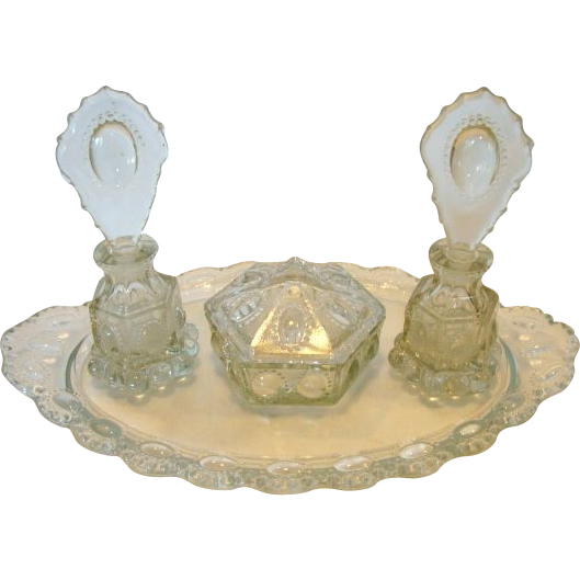 Elegant 7 Piece Crystal Beaded Medallion Vanity Set attributed to LE Smith Glass Co CA 1940's