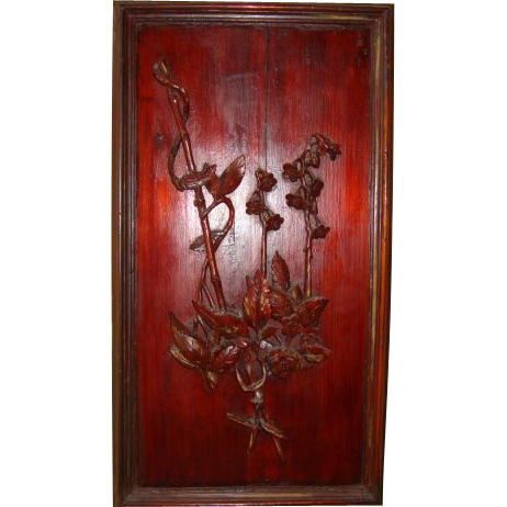 Astonishing & OLD Asian Panel with Oriental Motif ~ Circa 1880's, Raised Bamboo, Leaves & Flowers.