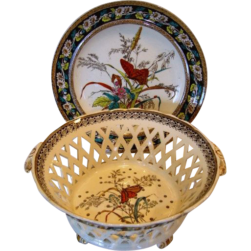 Amazing English Earthenware Berry Strainer / Drainer or Chestnut Basket with Underplate ~ Butterfly Transfer ~ Daisy & Grass Pattern ~ WT Copeland & Son Staffordshire England 1879-1883