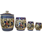 Awesome Gien Faience Measuring Set and Lidded Jar ~  Hand Painted with bright Cornucopia of ..
