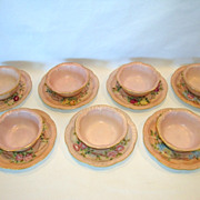 SALE 7 Sets available ~ Adorable Limoges Porcelain Ramekins and Saucers ~ Hand Painted Pink ..