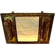 Unique Embossed Brass Clothes Brush Holder with Beveled Mirror.