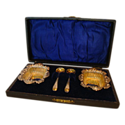 SALE Two Ornate Silver Plated Salt Dips with Silver Plated Spoons