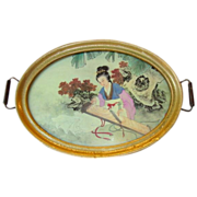 "Beautiful 17"" Tray with Painting on Silk of Japanese Woman in Kimono playing a Koto"