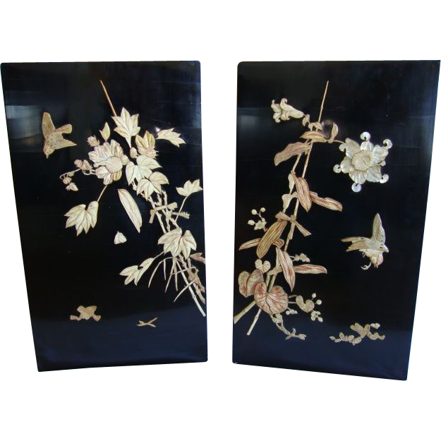 """Two stunning 14"""" High, Japanese Lacquer panels  ~ Birds & Bamboo ~ Early 1900's"""