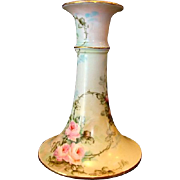 SALE Beautiful Limoges Porcelain Candlestick ~ Hand Painted with Pink Roses ~ Charles Martin .
