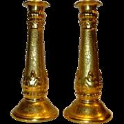 """SALE Exquisite Gold ( AOG) 10""""  Candlesticks ~ German Porcelain ~ Signed M Jones 1926 ~L. HU"""