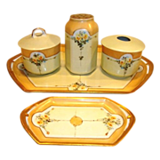 SALE Fabulous  7 Piece Dresser Set~ Trays, Hat Pin Holder, Powder Box, Hair Receiver ~ ...