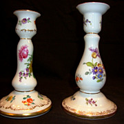 2 – Wonderful German Candlesticks / Holders ~ Dresden Flowers ~ Richard Klemm ~ Dresden Germany 1888-1916