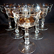Set of 6 ~  Beautiful Champagne / Tall Sherbets 5 oz~ Cellini (loop Optic) pattern #6024 – Stem #6024 ~by Fostoria, Ohio 1938-1970