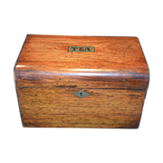 Gorgeous Wooden Tea Caddy ~ Two Compartments ~ late 1800's