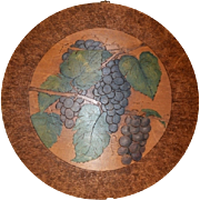 Neat Hand Painted Pyrography (Flemish)  Art of Beautiful Purple Grapes on Round Plaque ~ Signed March 13 1907 RLB