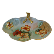 SALE Beautifully Limoges Porcelain Nappy ~ Hand Painted with Orange & Yellow Nasturtiums ...