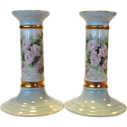 2 ~ Perfect Little Candlesticks ~ Bavarian Porcelain ~ Hand Painted with Pink Roses ~ Signed Hattie McLaud ~ Bavaria 1900's