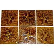 Set of (6) ~ Gorgeous Olive Green Majolica Tiles ~ Raised Relief Honeysuckle Design ~ Floreat Salopia ~ Broseley ~ Maw & CO. Jackfield, England   ca. 1860-1880