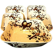 SALE Rare George Jones & Sons ~ Master Salad Bowl and 4 Plate Set ~ ...