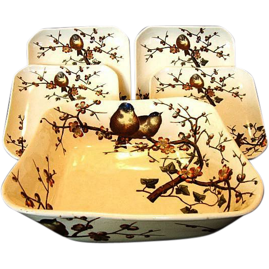 Rare George Jones & Sons ~ Master Salad Bowl and 4 Plate Set ~ ALMOND Pattern ~ Birds and trees~ GJ ca 1880
