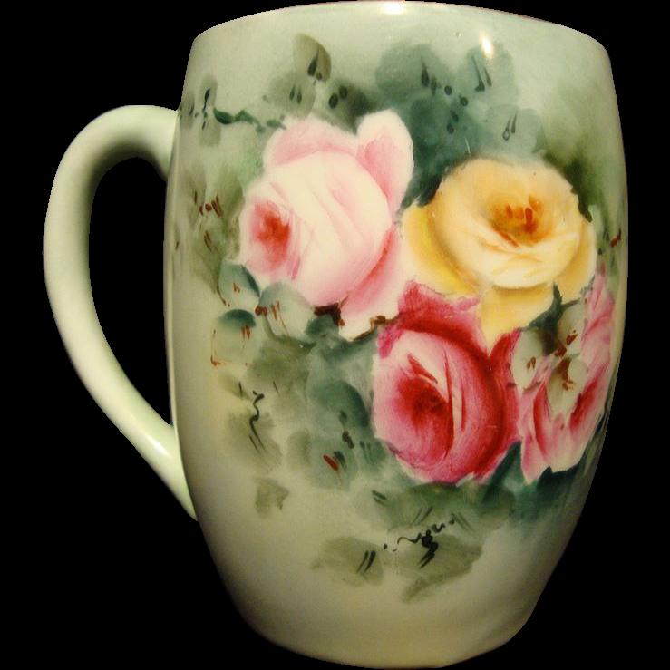 Dainty Limoges Porcelain Mug ~ Hand Painted with Pink & Yellow Roses ~ Tressemann & Vogt ( T&V ) 1892-1907