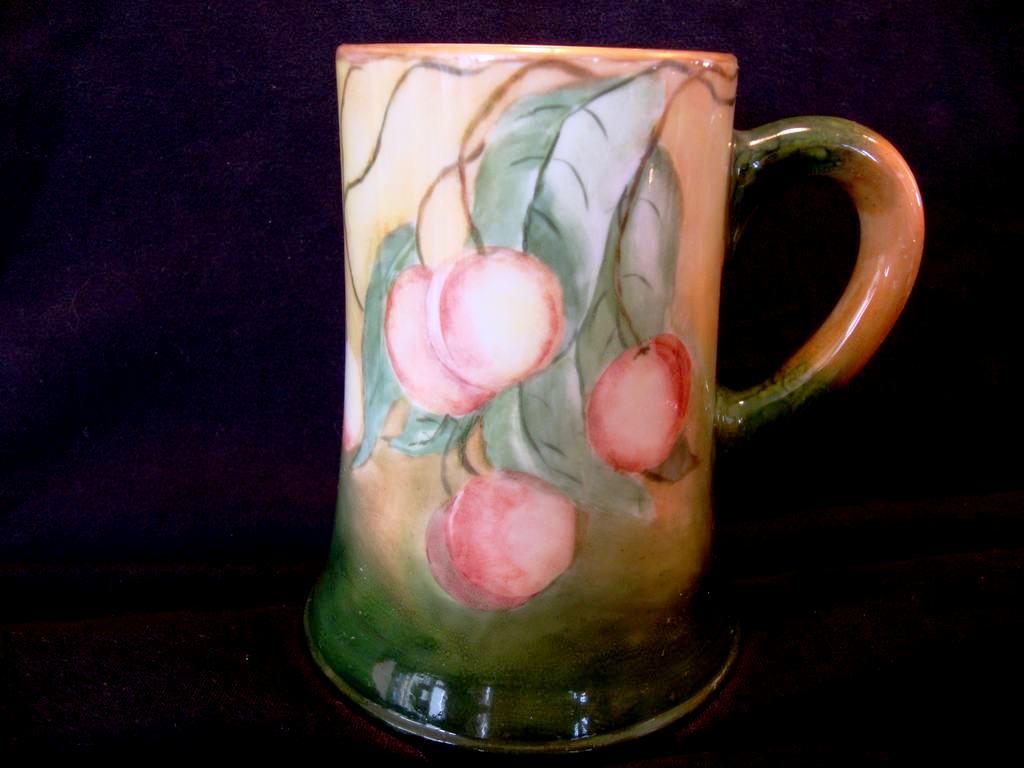 Large Lenox Belleek Porcelain ~ Mug / Stein / Tankard ~ Hand Painted with a Wonderful Ripe Rainier Cherry Motif – Artist Signed –  Lenox Belleek 1906-1924