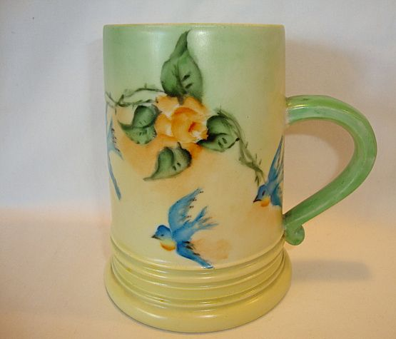 Beautiful Woman's Limoges Porcelain Mug ~ Hand Painted with Yellow Roses and Blue Birds ~ A. Klingenberg - Limoges France 1890 -1932