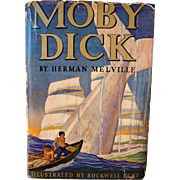 Moby Dick by Herman Melville, 1937 Garden City Publishing, Illustrated by Rockwell Kent. Deluxe Edition with dust jacket.