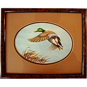 SALE Fantastic Original Signed Watercolor by Allen Hughes ~ Mallard Drake, Framed.