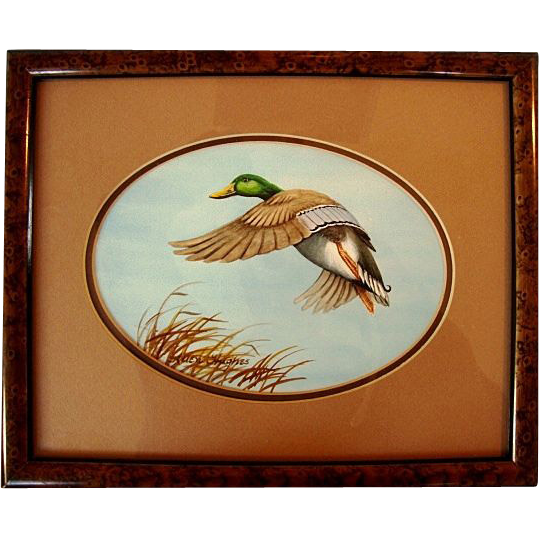 Fantastic Original Signed Watercolor by Allen Hughes ~ Mallard Drake, Framed.