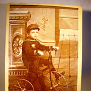 SOLD Wonderful Cabinet Card of Boy and His Tricycle ~  EB Hinman Pittsburg KS 1880's