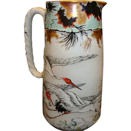 "Awesome early Haviland Asian Inspired Limoges Porcelain rare 8 ½"" 2 Pint Pitcher ~ Hand Painted Oriental Red-Crowned Crane Motif ~ Haviland & Co Limoges France 1876-1879"